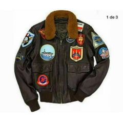 Jaqueta em couro aviador americano importada top gun