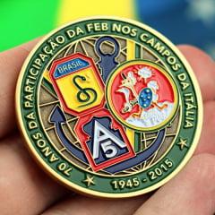 Medalha/Moeda FEB em comemoração aos 70 anos do Brasil na Itália, produto exclusivo tiragem limitada!
