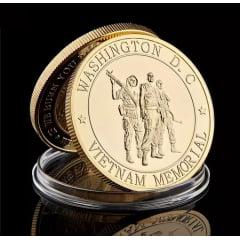 Moeda medalha comemorativa ao memorial guerra do Vietnã memorial em Washington DC marine corps