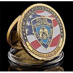 Moeda Medalha Polícia De New York Jeep Militar Coleção